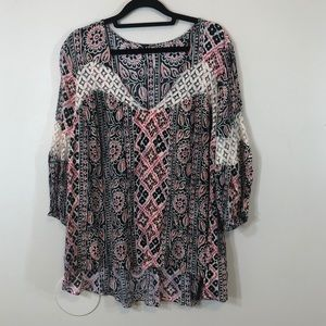 Free People Floral Lace Asymmetrical Tunic Top